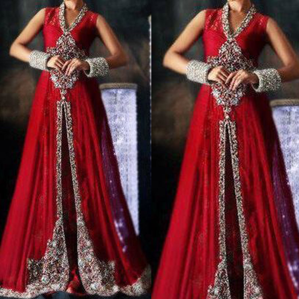 red prom dresses 2020 v neck beading crystal front slit lace evening gowns formal
