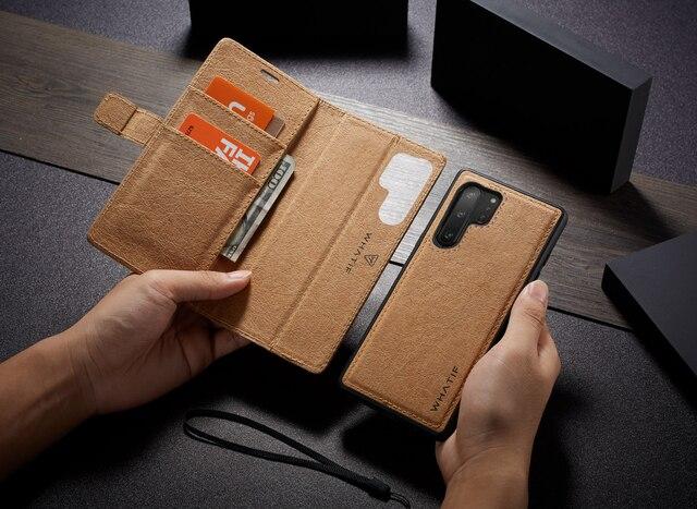 WHATIF S10 S10e kılıf Samsung Galaxy not için 10 9 S8 S7 kenar kılıf mıknatıs Flip ayrılabilir cüzdan arka kapak galaxy S9 S9 artı