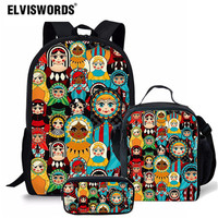 Elviswords 농구 인쇄 schoolbags 십대 소년 어린이 어린이 맞춤 로고 학교 가방 세트 3pcs 책 가방 스포츠 배낭