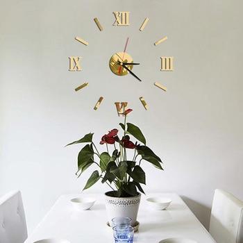 Wall Clock 3D Pattern Luxury Large DIY Decorative Wall Sticker Home Decor Clock Living Room Home