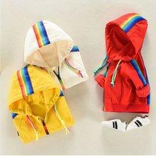 Kids Coats Rainbow-Jacket Girls Clothing Windbreak Hooded Autumn Infant Baby Boys