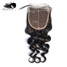 """Мокко волосы Кружева Закрытие """" X 4"""" свободная часть человеческих волос бразильские девственные волосы свободная волна"""