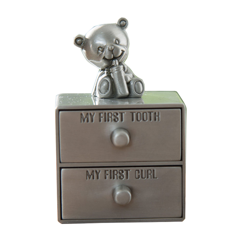 2 Layers Drawer Type Curl  Zinc Alloy Baby Teeth Box Souvenirs Organizer Home Storage Case Kids Bear Decor Accessories