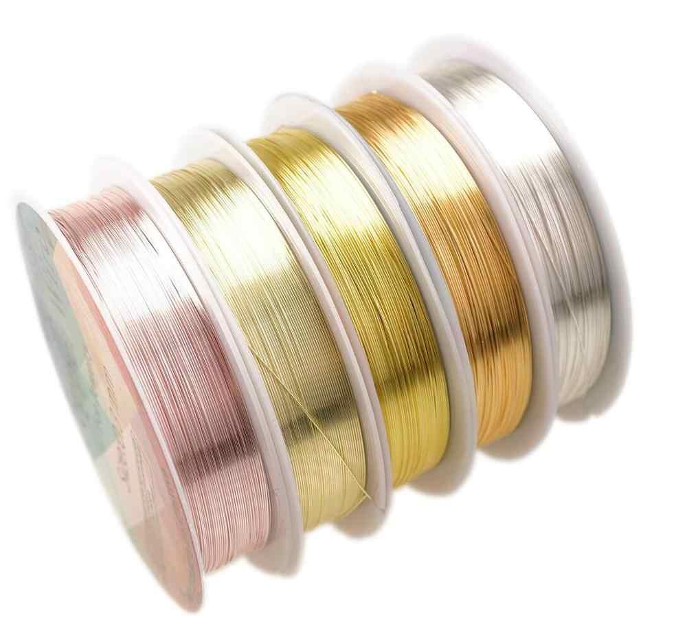 Colorfast fio de cobre para pulseira colar jóias diy acessórios 0.2/0.25/0.3/0.5/0.6/1.0mm artesanato beading fio hk018