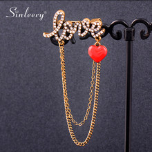 SINLEERY Unique Red Enamel Heart Crystal Love Letter Tassels Pin Brooches For Women Female Retro Jewelry Accessories XZ209 SSK