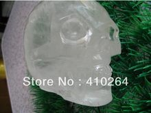 YM 327 big Clear Quartz Rock Crystal Skull Carving, Realist FengShui standbeeld(China)
