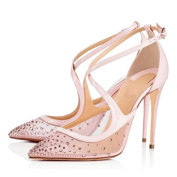 Women's Shoes European Station Mesh Crystal Thin Heeled Women's Shoes High Heels Bridal Shoes
