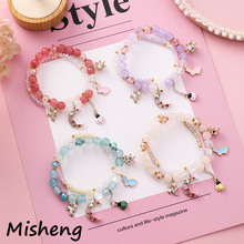 Misheng New String Bracelet Natural Stone Crystal Beads Korean Bunny Ladybug Moon Fashion Creative Womens Gift Jewelry