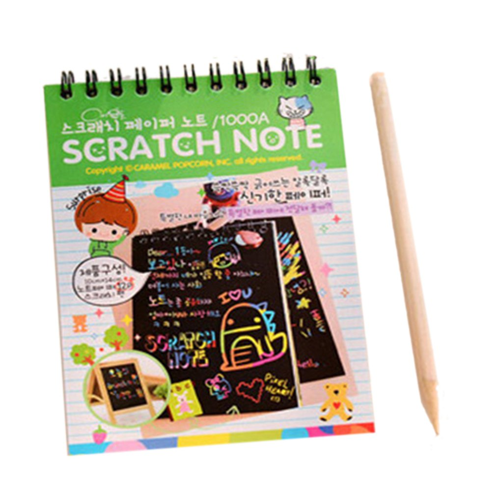 Y031 Creative Color Diy Coil Scratch Picture Children's Graffiti Sketch Book Scratch Painting Picture Green