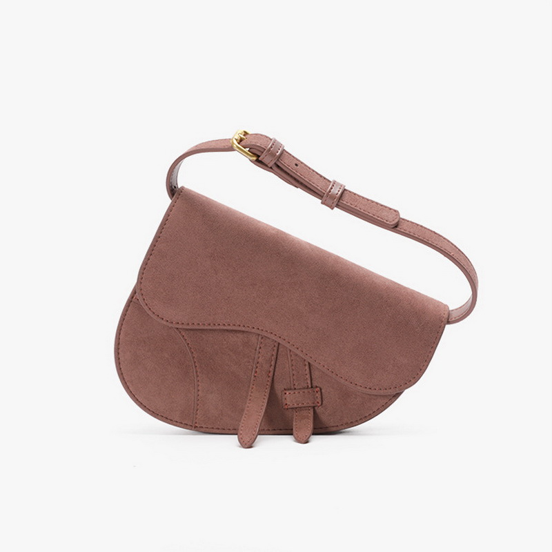 Suede Leather Pink Saddle Bag Fashion Brand Women Waist Bags Female Lady Handbag Winter Girls Belt Bags Small Mini Messenger Bag