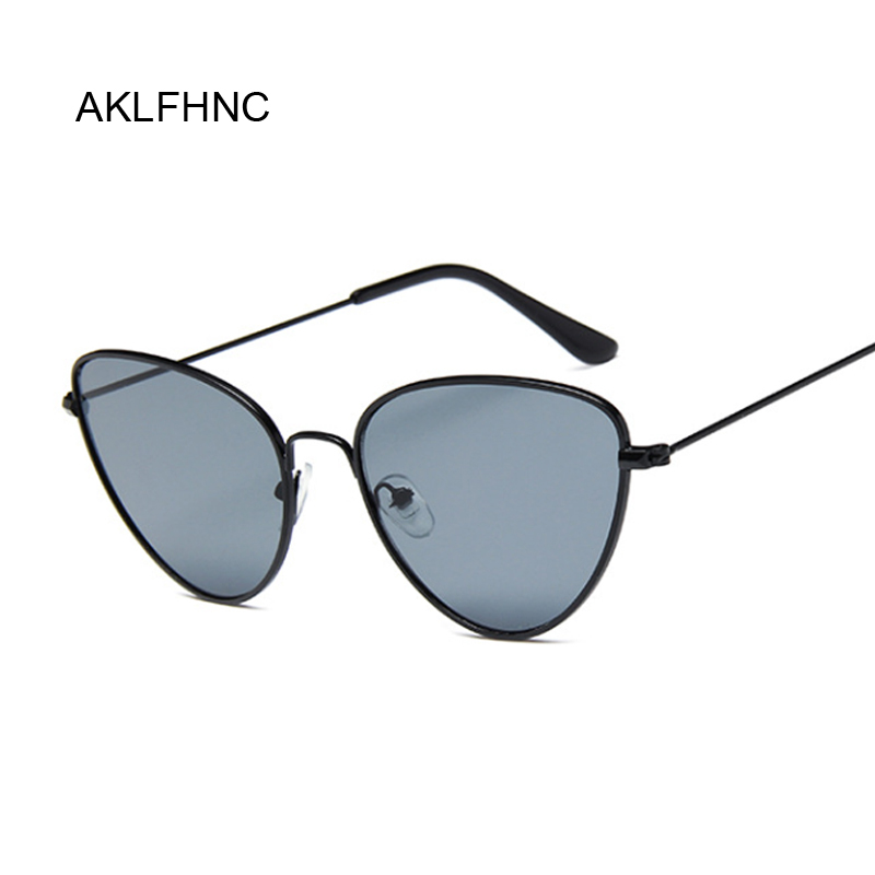 Fashion Vintage Ladies Cat Eye Sunglasses Women Brand Designer Metal Luxury Rose Gold Mirror Sun Glasses Female UV400