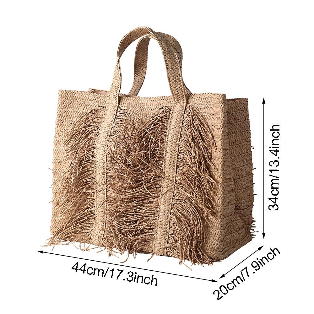 Oversized Vintage Straw Beach Bag for Summer 2021