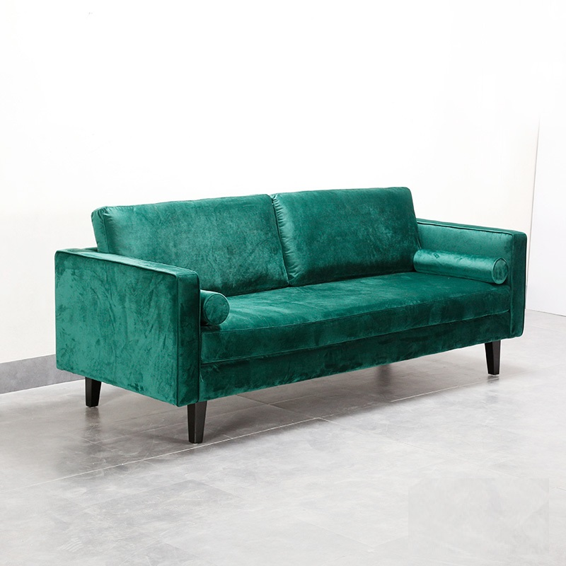 U-BEST Mid Century Modern Furniture Sleeper Couch Royal Green Velvet I Shaped Leisure Modern Sofa image