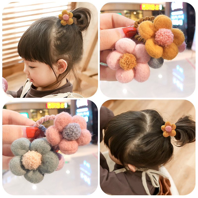 2019 New Girl Sweet Flower Soft Elastic Hair Bands Winter Children Rubber Bands Ponytail Holder Fashion Kid Hair Accessories