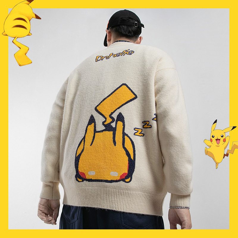 Letters Pikachu Print Lovely Sweaters Men Japanese Streetwear Winter Thick Warm O-Neck Knitted Sweaters Men Hip Hop Pullovers