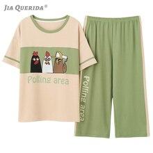 ชุดนอนสุภาพสตรีชุด Capris สมาร์ท Casual Loungewear เกาหลีสไตล์เก๋ไก่ตลกรูปแบบการพิมพ์ O Neck ชุดนอนฝ้าย