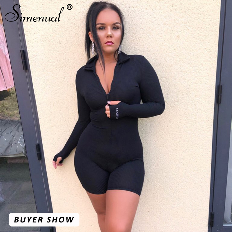 Simenual Workout Active Wear Ribbed Rompers Women Fashion Skinny Biker Shorts Playsuit Embroidery Letter Long Sleeve Playsuits