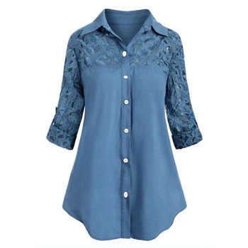 Plus Size Lace Tunic Tops Button Turn Down Collar Women Shirts Autumn Spring Long Sleeve Shirt Blouse For Women