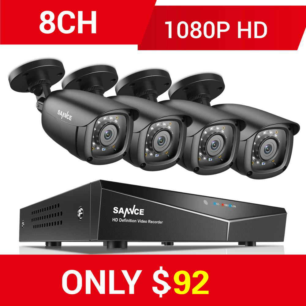 SANNCE RU 8CH 1080P 5IN1 Home CCTV System With 1080N DVR 4pcs 1080P Smart IR Outdoor Weatherproof Camera Video Surveillance Kit Surveillance System     - title=