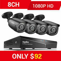 SANNCE RU 8CH 1080P 5IN1 Home CCTV System With 1080N DVR 4pcs 1080P Smart IR Outdoor Weatherproof Camera Video Surveillance Kit