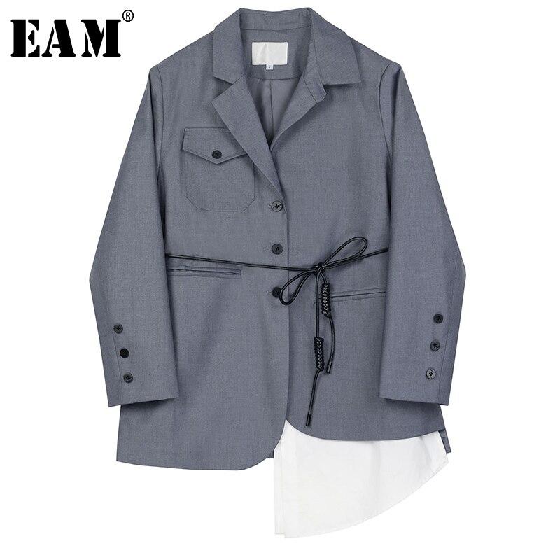 [EAM]  Women Gray Asymmetrical Bandage Big Size Blazer New Lapel Long Sleeve Loose Fit  Jacket Fashion Spring Autumn 2020 1S148