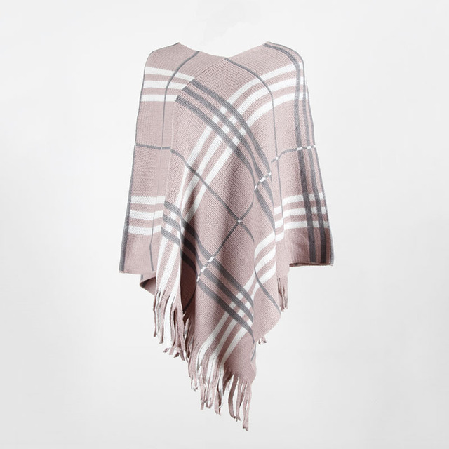 2020 Autumn Winter European American Fringed Shawl Cloak Diagonal Stripe Pullover V-neck Ladies Sweater Poncho Women's Clothing 5