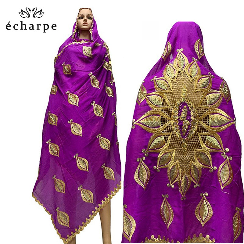 100% Cotton Big Scarfs Nice Embroidery On The Back Multifunctional Scarfs For African Women EC050