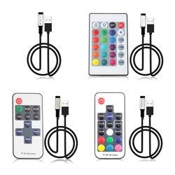 5V 12V 24 V USB taśma Led RGB pilot 5 12 24 V Volt USB LED taśma oświetleniowa RGB pilot bezprzewodowy 3 11 17 24 klucz w Kontrolery RGB od Lampy i oświetlenie na