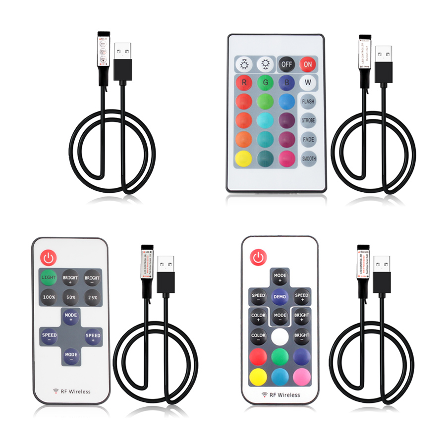 5V 12V 24V USB Led Strip Lights RGB USB RF Remote Controller 5 12 24 V Volt USB LED Strip Light 3 11 17 24 Key  Remote Wireless