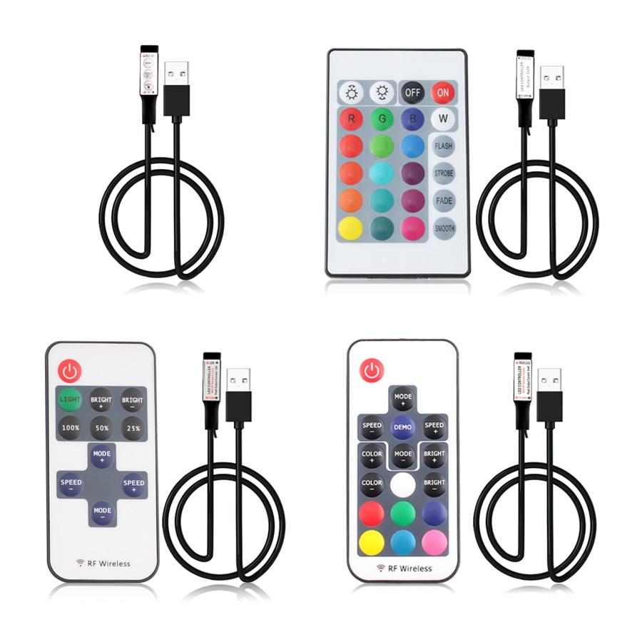 5V 12V 24V USB Led Strip RGB Remote Controller 5 12 24 V Volt USB LED RGB Strip Light Remote Controller Wireless 3 11 17 24 Key