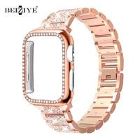 Correa de diamante de Metal + funda para Apple Watch 6 SE 5 4, banda de 40mm, 44mm, parachoques, pulsera de 38mm y 42mm, Correa de acero inoxidable