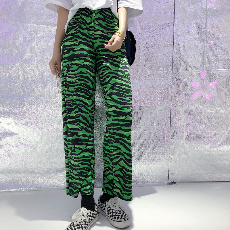 Focal20 Streetwear Zebra Print Women Pants Elastic Waist Wide Leg Female Trousers Bottoms Casual Loose Spring Autumn Lady Pants 1