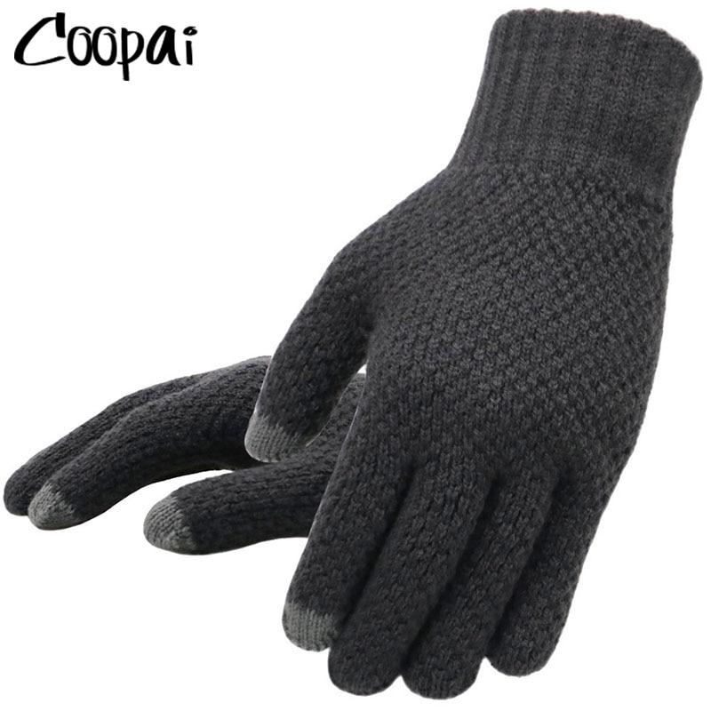 Зимние вязаные перчатки мужские для сенсорного экрана
