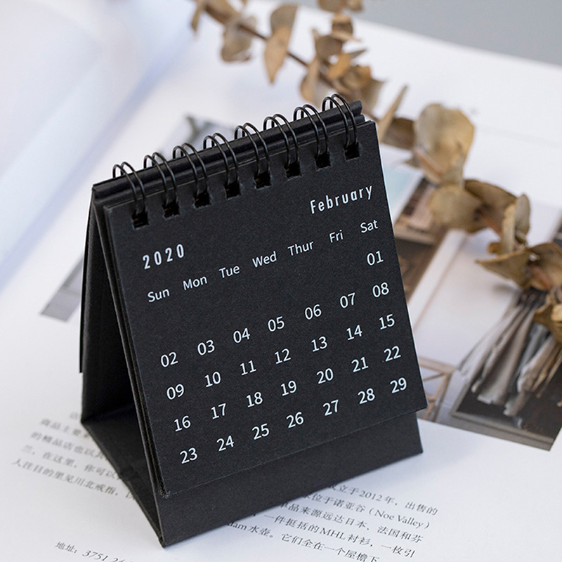 2020 Calendar Black White Grey Series Desktop Calendar Dual Daily Schedule Table Planner School Office Supplies 2020 New Year