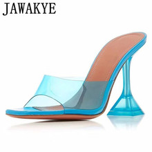 Summer Slippers Sandals Clear Women Party-Shoes Jelly Square Toe High-Heels Transparent