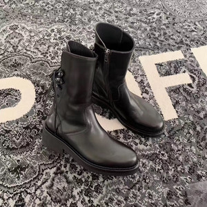 Image 4 - Buono Scarpe Brand Women Cross Tied Ankle Boots Fashion Black Laces Botas Fenimina Casual Zipper Motorcycle Chunky Boots 2019