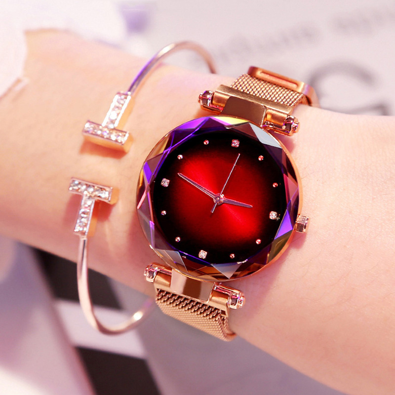 Luxury Rose Gold Women's Watch Fashion Diamond Ladies Starry Magnetic Gift Watch Montre Bracelet Femme часыженские