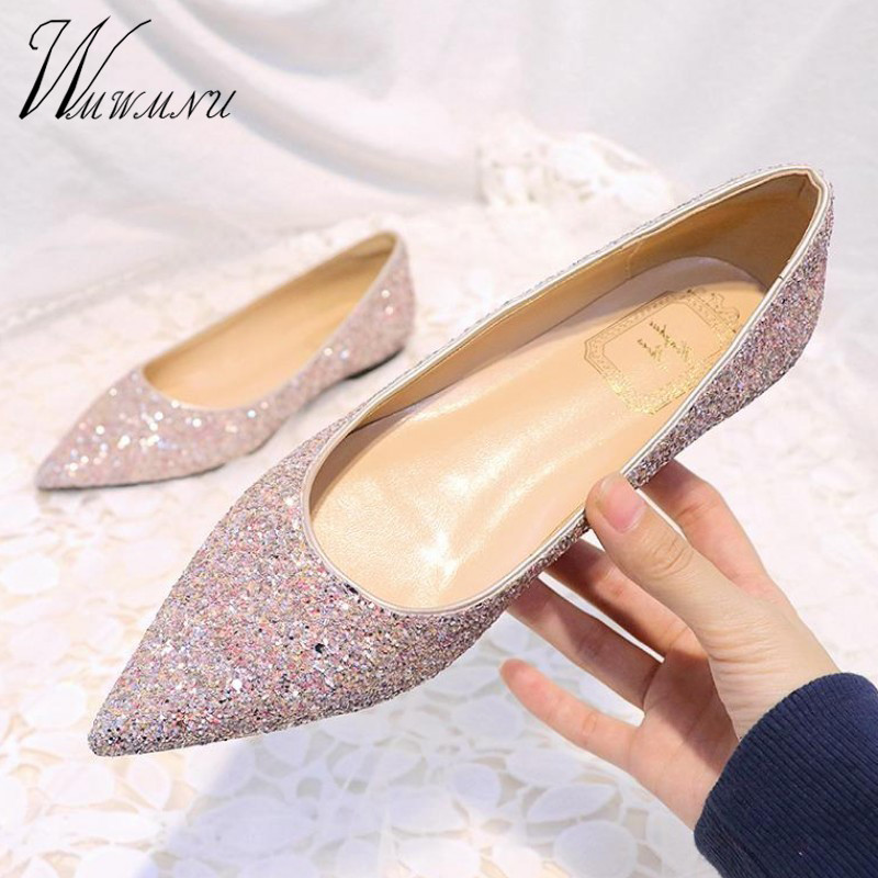 New Womens Bow Rhinestones Glitter Pointed Toe Flat Loafers Casual Oxfords Shoes