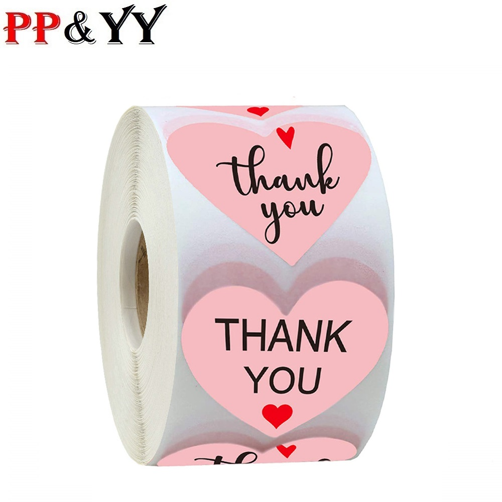 Pink Thank You <font><b>Stickers</b></font> Seal Labels for Scrapbooking Paper Stickers1 inch 500pcs Wedding Party Cute Stationery <font><b>Stickers</b></font> image