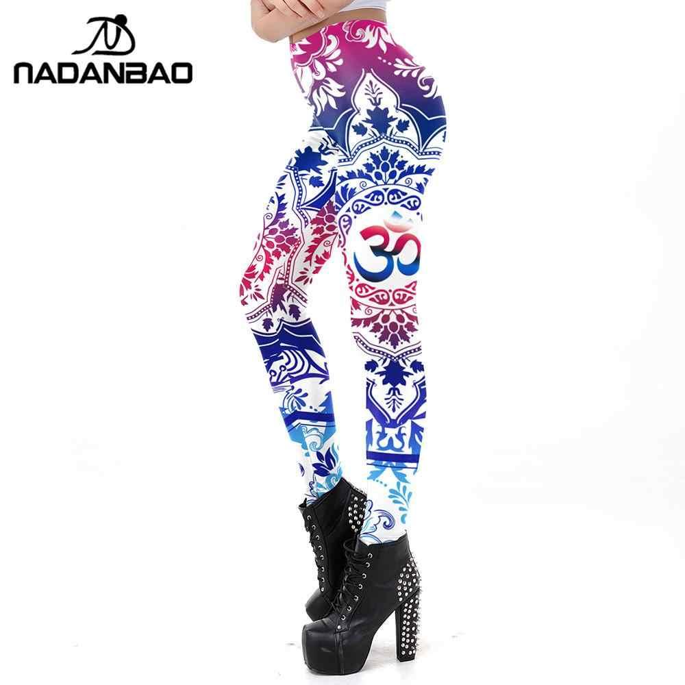 NADANBAO en OM sembolü Mandala tayt baskı bayan egzersiz spor Leggin artı boyutu ayak bileği pantolon ince elastik tayt