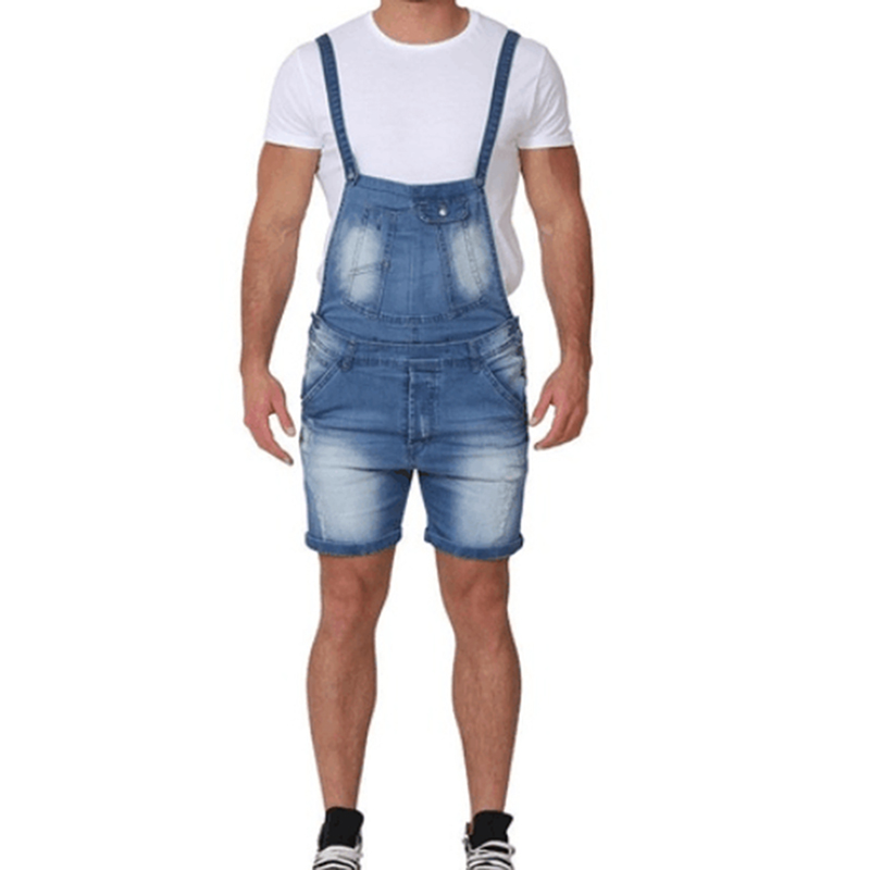 Nice Summer Short Jeans Overalls Men Fashion Hip Pop Denim Jumpsuit With Pockets Male Causal Distressed Slim  Jeans Shorts