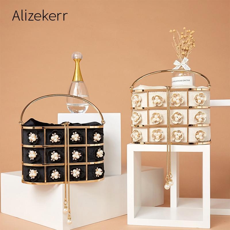 Flower Pearl Evening Bag Women Luxury Designer Handmade Metal Basket Cage Rhinestone Clutch Purse Handbag Gold Wedding Party New