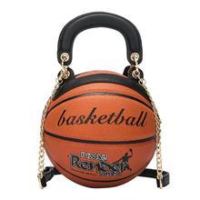 цена на Women Round Shoulder Bag Basketball-style Fashion Personality Handbag Chain For Lady Female Handbag Crossbody Messenger Bags