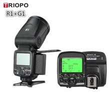 цена на Triopo R1 Round Head Camera Flash Speedlite 2.4G X Wireless TTL HSS Speedlight Flash With G1 Trigger for Canon Nikon Camera