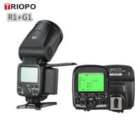 Triopo R1 Round Head Camera Flash Speedlite 2.4G X Wireless TTL HSS Speedlight Flash With G1 Trigger for Canon Nikon Camera