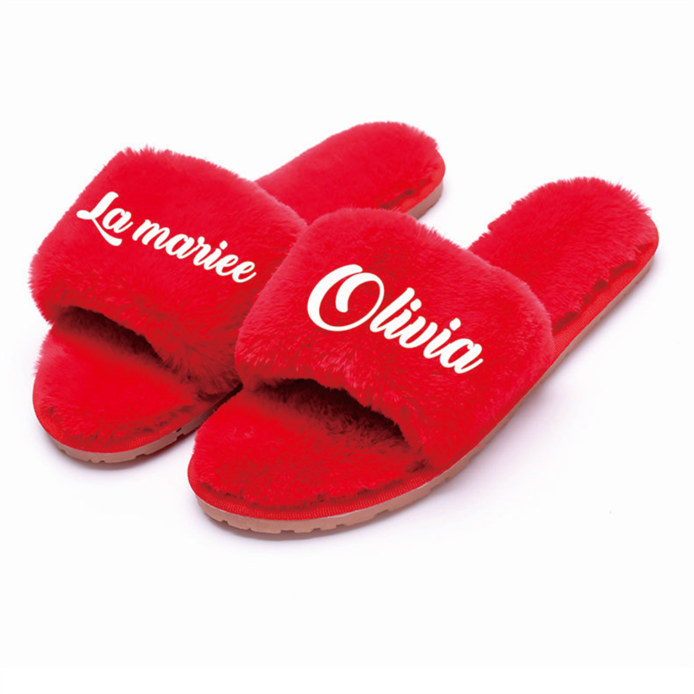 Customized coral Fleece slippers Team Bride to be Bridesmaid gift Bachelorette Hen party gifts for wedding