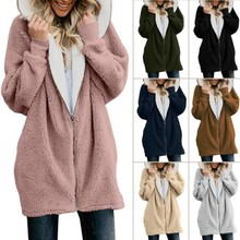 Autumn Winter Women Fashion Solid Color Long-sleeved Hooded Knit Jacket Winter Warm Zipper Coat Plus Size S-5XL oeak women s autumn and winter hooded jacket long sleeved thick coat warm side zipper jacket coat solid color long coat 2019