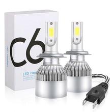 2 PCS 72W 7800LM 6500K COB H4 H1 H3 C6 LED ไฟหน้ารถ H7 H8 H11 9005 HB3 9006 HB4 9007 9004 H13 หลอดไฟ LED หมอก 6500K