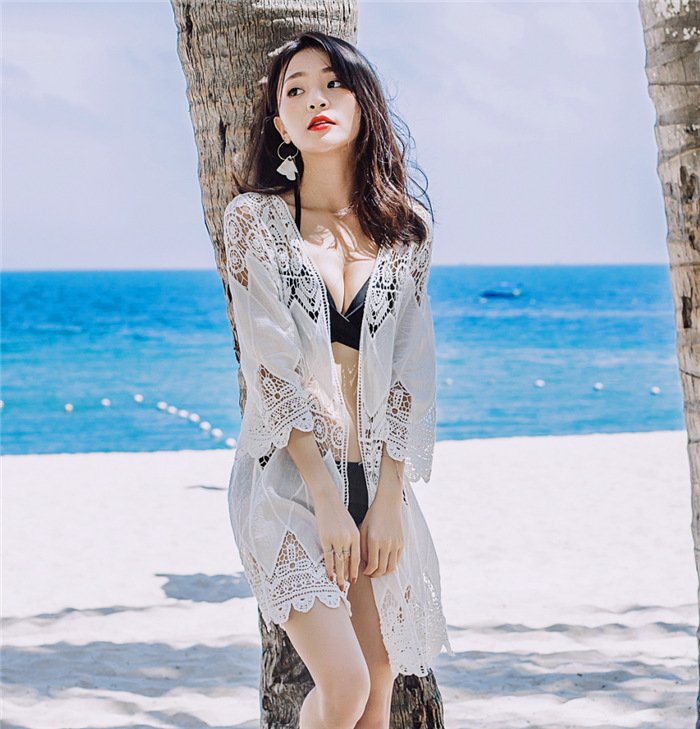 2017 New Style Korean-style Bikini Cover-up Bathing Suit Outdoor Sha Tan Yi Coat Hollow Out Knitted Cardigan Women's One-Piece