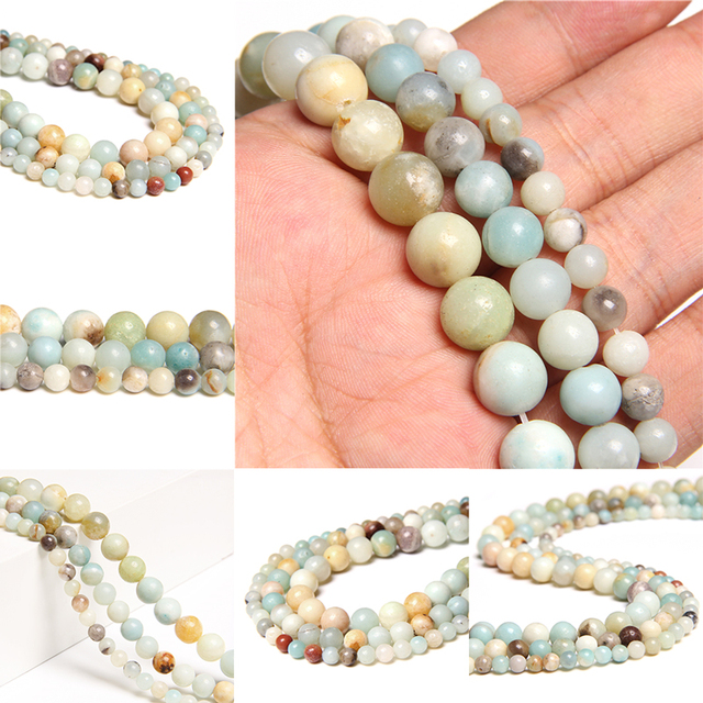 """15.5"""" Natural Amzonite 4/6/8/10/12 mm Polished Bead Wholesale Sky River Stone Loose Strand Beads For DIY Making Jewlery Bracelet"""